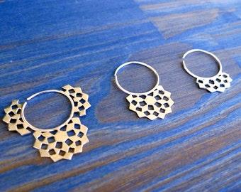 Mashrabiya Gipsy Earring No 2. Modern Geometry. Hand Made Silver Hoop Earring. Architecture Inspired Design. Modern Lace Sterling Gipsy.