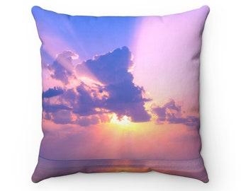 Sunset Over the Sea Throw Pillow | Nature Throw Pillow Case | Clouds | Boho Home Decor | Sunset Accent Pillow | Sky Decorative Pillow