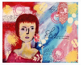 Print of Mixed Media Painting Titled She Remained True to Herself - Portrait of a Woman - Print of Acrylic Painting - Unframed Artwork