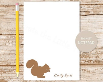 squirrel personalized notepad . squirrel note pad . personalized stationery . stationary notepad . woodland forest