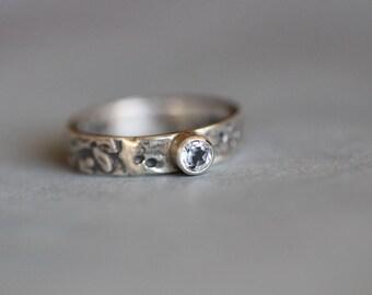 White Topaz Ring, Engagement Ring, 4mm, Gemstone Ring, Tube Setting, Sterling Silver, Botanical, Floral, Rustic, Bohemian, Mossy Creek