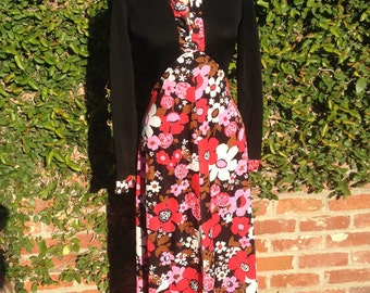 Black And PInk Floral Maxi Dress 1970s Seventies Size 6-8