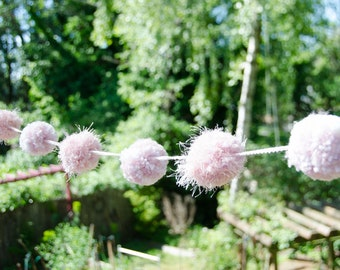 Pom Pom Garland PINK (7)   2 Inch Pom Poms - Pom Banner - Pom Pom Garland -  Party Decoration- Nursery Decoration -t's A Girl