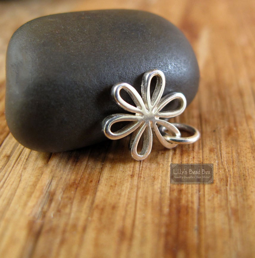 Silver flower charm sterling silver daisy charm flower pendant silver flower charm sterling silver daisy charm flower pendant spring summer open leaves jewelry supplies ch 1079 aloadofball Choice Image