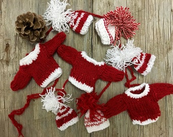 Red Sweater Garland- Red White  Holiday Decoration- Christmas Garland- 5 Hand Knitted Beanies, 3 Sweaters- Made To Order- Santa Sweaters