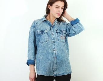Vintage Levis Shirt / 70s Levis Shirt / Blue Levis Shirt / Man Levis Shirt / Levi Strauss Shirt / Large Levis Shirt / Acid Wash Shirt