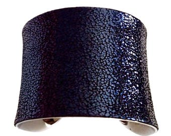Crushed Metallic Navy Blue Leather Silver Lined Cuff - by UNEARTHED
