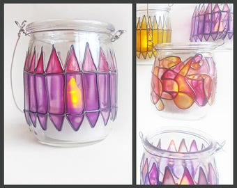 Eco Friendly Hand Painted Stained Glass Lantern Jar, purple mauve lilac lavender, tealight candle glassware, moroccan boho wedding decor