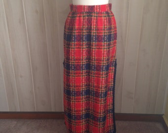 Vintage Red Plaid Maxi High Waisted Ladies Skirt '70s