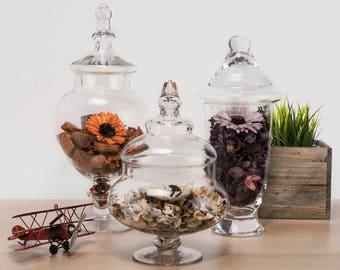"Glass Apothecary Jars Set of 3, Candy Buffet Jars, Glass Jar with Lid, H-10"", 13"", 14.75"", #GAJ006115118S"