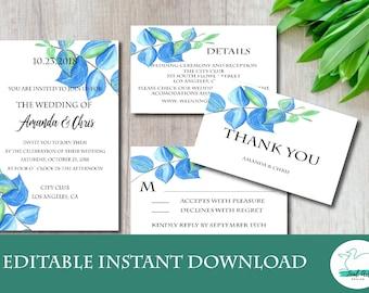 Wedding Invitation Cards Set, Editable, Instant Download, Digital, Editable PDF, RSVP Card, Thank You Card, Details Card(ICSE04)
