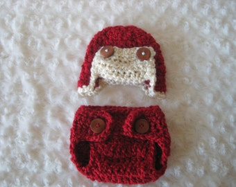 Crochet Baby Hat and diaper cover  Aviator Baby Boy Baby Girl Photo Prop Infant Newborn red