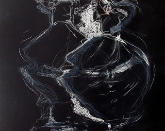 Whirling Dervishes, Dancing Dervish, Original Illustration and Drawing,17 x 13, black and white, Pastel Drawing