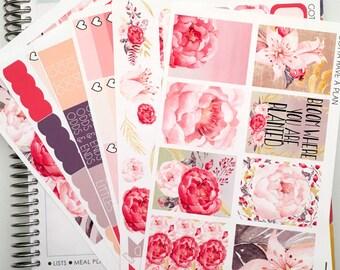 Planner Stickers Peony Bloom Weekly Kit for Erin Condren, Happy Planner, Filofax, Scrapbooking