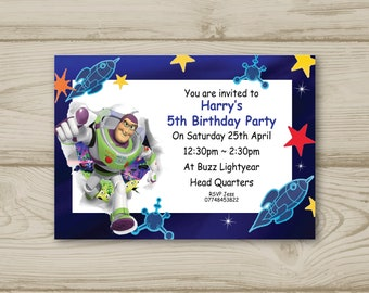 Buzz Lightyear Birthday Party Invitations Personalised Toy Story