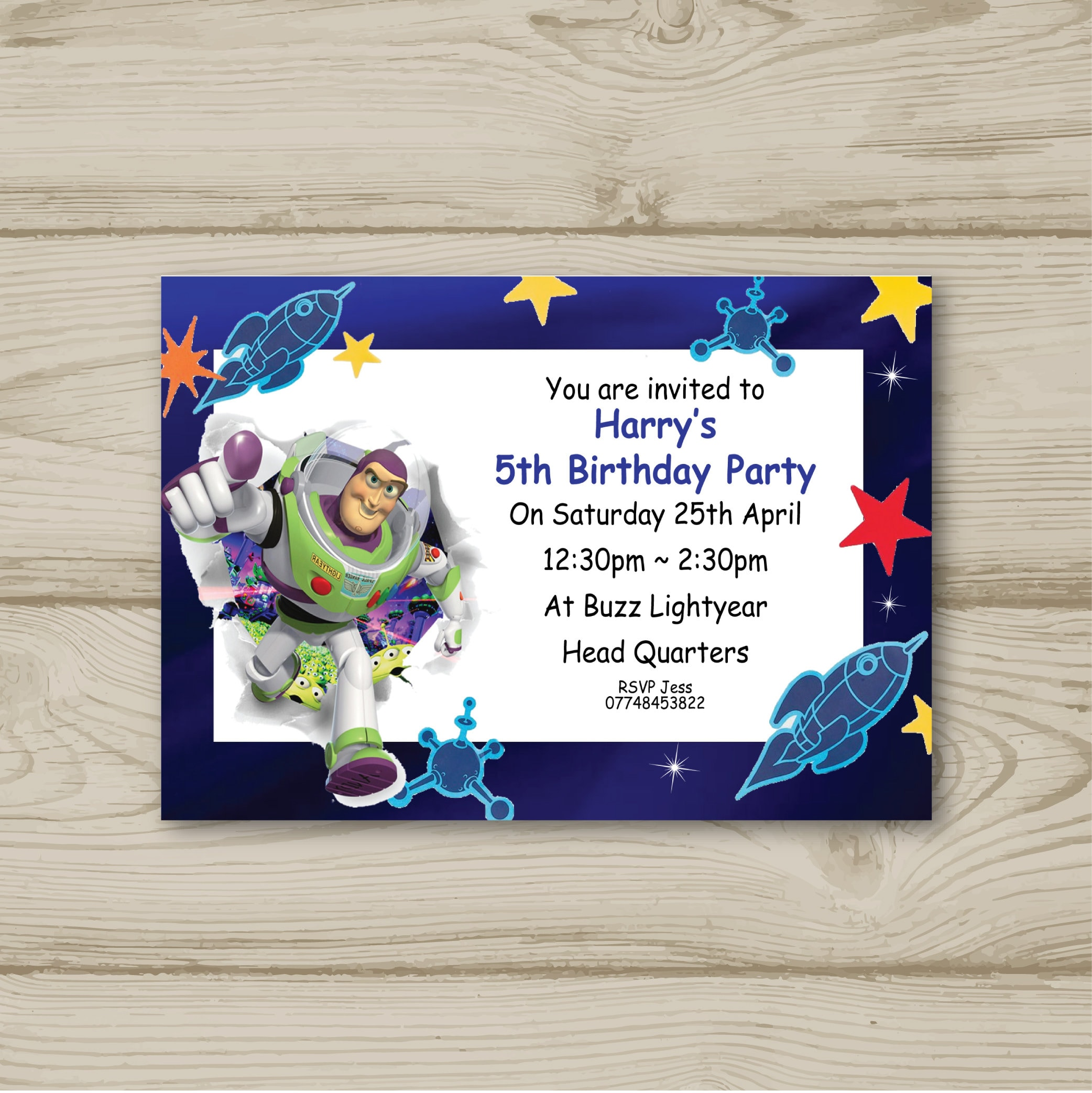 Buzz Lightyear Birthday Party Invitations Personalised Toy