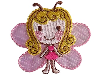 Pink Butterfly Girl Embroidered Iron On Applique