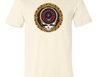Vintage Grateful Dead Blazing Sun Mosaic Skull graphic printed on T shirt men size S,M,L,Xl,Xxl,3Xl, T-143