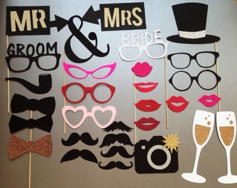 Wedding Photobooth Props Holiday Photo Booth Props Set of 30