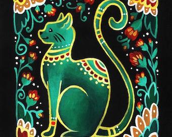 Cat Folk Art Print, Wall Art, Home Decor, 6x8