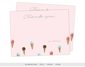Ice Cream Stationery | Printable Ice Cream Thank You Cards, Ice Cream Thank You Notes, Digital Download, Thank You Template