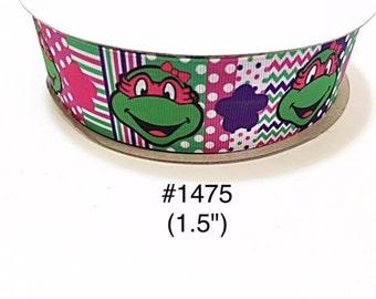 "3 or 5 yard - 1.5"" Ninja Turtle Girl Polka Dot, Striped & Zig Zag Grosgrain Ribbon Hair bow Craft Supply"