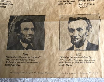 Abraham Lincoln life chronology on reproduced parchment paper / Lincoln cabin souvenir