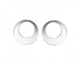 5 pendants hoops 50mm silver discs