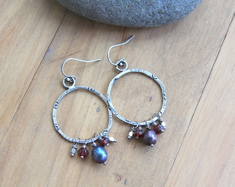 Sterling silver circle earrings with freshwater pearls and garnets, dangle earrings, rustic jewelry, artisan jewelry, metalsmith jewelry