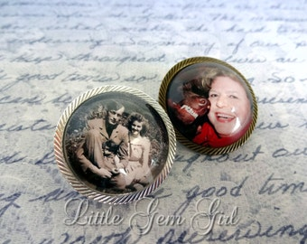 One Custom Photo Brooch - Picture Boutonniere - Wedding Bouquet Charm Boutineer - In Memory Pin in Antique Bronze or Silver