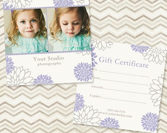 Photography Gift Certificate Template 003 - C032, INSTANT DOWNLOAD