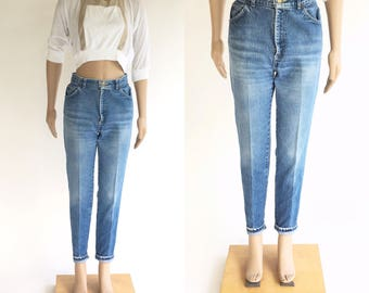 Vintage 1980s Chic High Waist Tapered Leg Faded Worn Jeans (Size 7)
