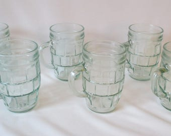 6 Unique Vintage 8 oz Green Glass Mugs w/Handles ~ Stacked Brick Pattern ~ Individually Numbered on Bottom