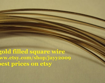 2 ft - 21g square wire, 14k gold filled wire, half hard, commercial supplies, other lengths available