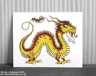 Chinese Dragon Print, Dragon Decor, Dragon Art for Nursery, Children's Dragon, Dragon Illustration,  Dragon Wall Art, Nursery Art, Oriental