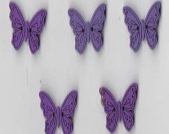 Set of 5 Butterfly buttons wood 20 mm for sewing