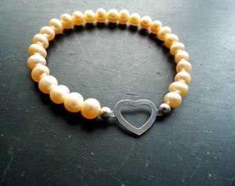 Bracelet, pearl bracelet, pearls, heart, silver, bride, wedding