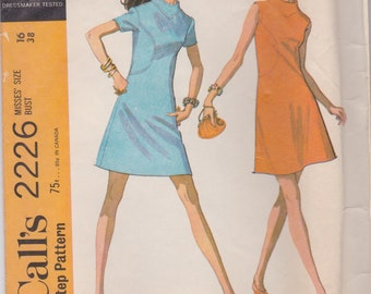 1960s Mod A-line Dress Pattern McCalls 2226 Size 16