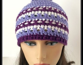 Crocheted Basic Beanie hat with pom pom!!! Lavender, Purple and white!  Ready to Ship!