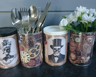 Steampunk Gothic Vintage tin cans wedding centerpieces, storage, cutlery holders, cafes, shop, bars restaurants, gifts. Optional  lids