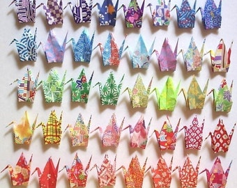 40 Small Origami Cranes Origami Paper Cranes Paper Crane Origami Crane - Made of 7.5cm 3 inches Japanese Print Chiyogami Paper