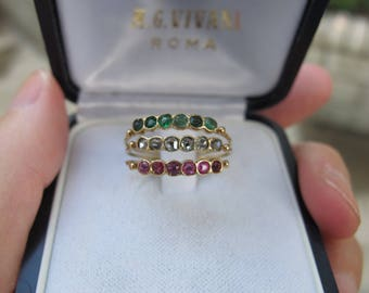 Antique Rose Cut Diamond, Emerald, Ruby, Paste Harem Ring in 18k Yellow Gold