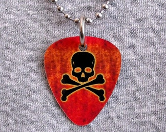 Metal Guitar Pick Necklace SKULL & CROSSBONES jolly roger skulls evil death skeleton pirate horror pendant charm 2-sided #2