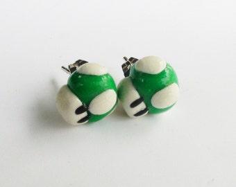 Green Mario Mushroom Post Earrings