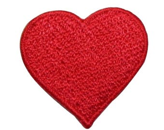 ID 3388 Red Heart Symbol Patch Valentines Day Love Embroidered Iron On Applique
