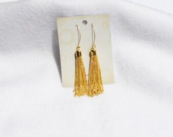 Tassel Earrings, Gold Tassel Earrings, Long Tassel Earrings, Long Gold Tassel Earrings, Chain Tassel Earrings In Gold.