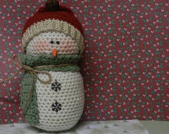 Crocheted Snowman/Country Snowman/Rustic Stuffed Snowman/Winter Decor