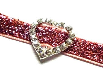 """Heart Shaped Rhinestone Ribbon Sliders, Buckles for 12mm  1/2"""" Ribbon, Bridal Accessories, Head Band Slider - Pack of Five"""