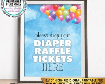 """Diaper Raffle Sign, Drop your Diaper Raffle Tickets Here, Baby Shower Diaper Sign, Balloons Up Girl, PRINTABLE 8x10"""" Watercolor Style Sign"""