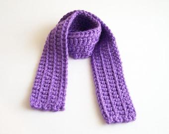 Purple Kid's Scarf, Girl's Purple Scarf, Child's Scarf, Crochet Scarf